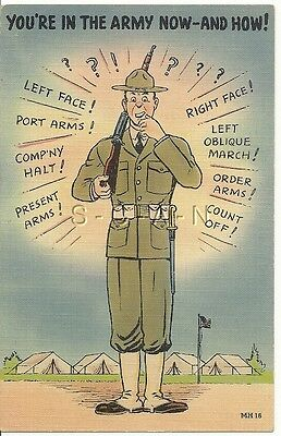 WWII Original 1940s Linen Army Comic PC- You Are in the Army Now and How!