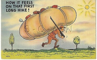 WWII Original 1940s Linen Army Comic PC- Exaggerated Rucksack- First Long Hike