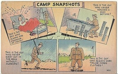 WWII Original 1940s Linen Army Comic PC- Camp Snap Shots- Bed- KP- Uniform- Rain