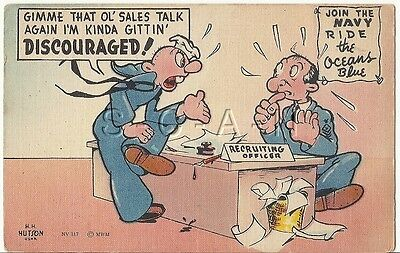 WWII Original 1940s Linen Navy Comic PC- Discouraged- Needs Sales Talk Again