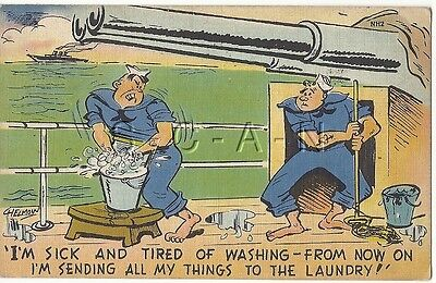 WWII Original 40s Linen Navy Comic PC- Battleship- Gun- Sick & Tired of Washing