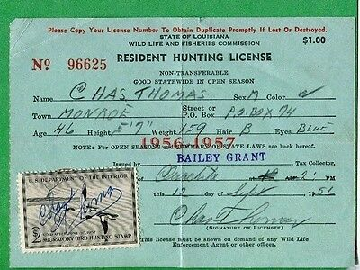 LOUISIANA 1956 Resident Hunting License RW23 Federal Duck Stamp - 441