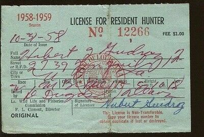 LOUISIANA 1972 Basic Resident Hunting License RW39 Federal Duck Stamp - 442