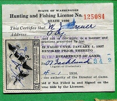 1936 Washington State License Plate Pair Vintage Tag