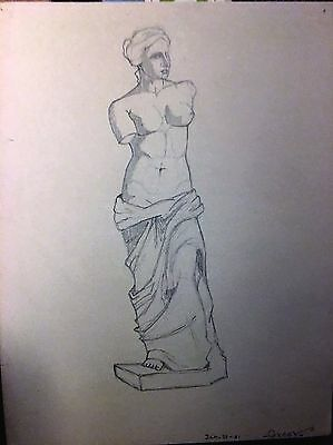 Pencil Sketch of Greek or Roman armless woman carved marble figure 1931 signed