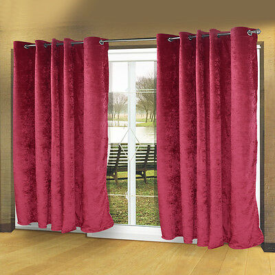 Red Modern Luxury Velvet Eyelet Curtains Ring Top Fully Lined