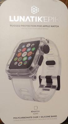 LUNATIK EPIK Polycarbonate Case and Silicone Band for Apple Watch 42mm Clear New