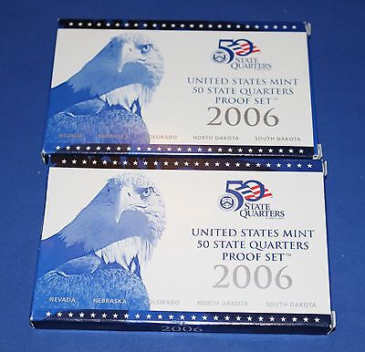 2 2006-S 5 Coin U.S. Mint 50 State Quarters Proof Set with Box and COA
