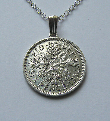 Single Sixpence Coin Necklace With Adjustable 925 Sterling Silver Chain NEW