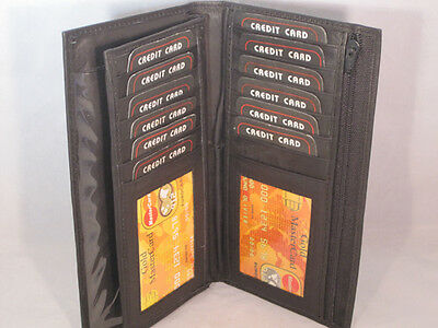 Checkbook Credit Card Holder With Removable Flap New Black Genuine Leather