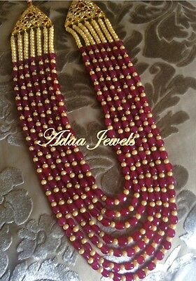 Indian Ethnic wedding jewellery set, pearls earrings necklace Red beads