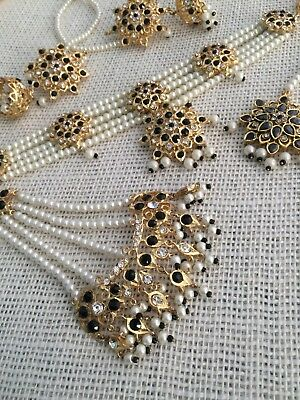 Indian jewellery set, gold Black earrings necklace Tika Jhumar Pearls Bridal