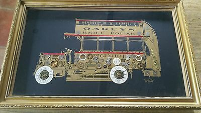 Genuine Handmade horological London Bus collage clock by Tymeart ltd