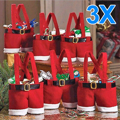 3pc Christmas Party Santa Pants Spirit Candy Gift Bag Sack Stocking Filler UKNew