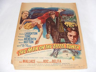 "RARE VINTAGE POSTER ADVERTISING CARD FILM "" MAN ON THE EIFFEL TOWER "" 1940's"