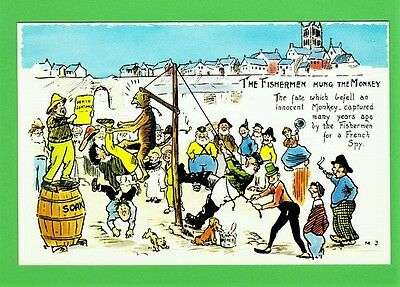 """Unposted novelty postcard. """"THE FISHERMAN HUNG THE MONKEY"""""""
