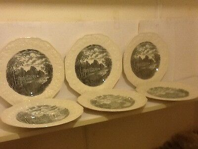 """Lovely Set Six Crown Ducal""""english Scenery""""dinner Plates Lovely Lot No Reserve"""