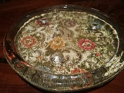 Glass Serving / Chesse Dish With Feet