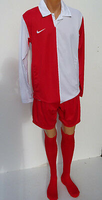 15 x Nike Mens/Youth Football Team Kits Red/White Halved Long Sleeved (S & M) #2