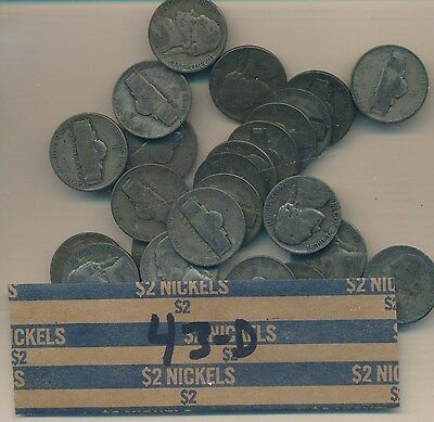 Jefferson Silver Wwii - 1943-D  Roll Of 40 Coins -  Popular Date