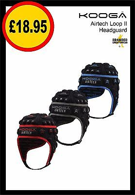Kooga Airtech Loop II Rugby Head Guard/Scrum Cap Blk/Red Blk/Blue SMB MDB (boys)