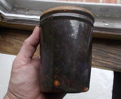 Early Stoneware Apple Butter Or Preserve Jar Brown Pottery Crock 1880