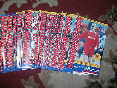 Swindon Town Bundle 1994/95 Homes Complete Set 32 In Total Excel Condition Div 1