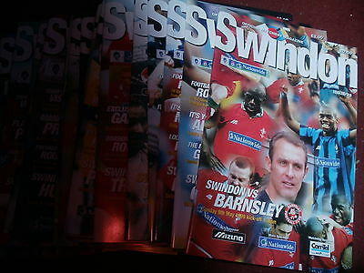 Swindon Town Bundle 1998/99 Homes Complete Set 26 Inc Friendly And Cup +Div 1