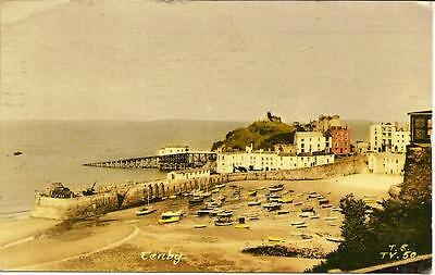 Tenby -View of Harbour -Posted  Postcard  1958