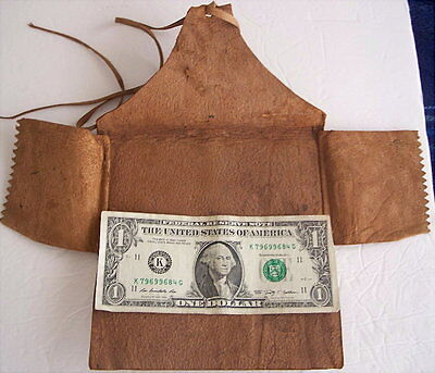 Antique foldout Leather Document Holder Wallet Style/Shape- hand tooled edge