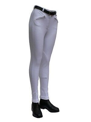 Gallop Childrens White Cotton Lycra Riding Jodhpurs SHOP SOILED Reduced £4.99
