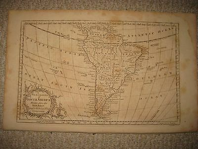 Early Antique 1765 South America Copperplate Map Magellanica Brazil Terra Firma
