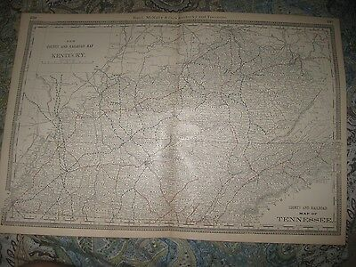 Large Antique 1888 Kentucky Tennessee County Railroad Map Nashville Louisville N