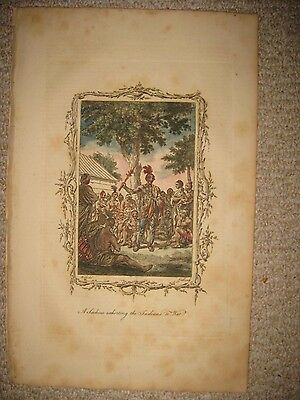 Early Antique 1875 Native Indian Copperplate Print Colonial United States Rare