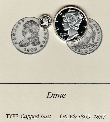 1809 Capped Bust 10c Dime Franklin Mint Miniature Proof Silver Coin