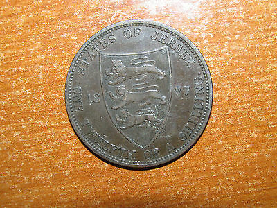 Jersey 1877 H 1/12 Shilling coin Queen Victoria nice