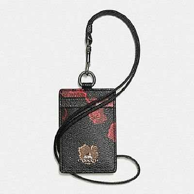 NWT Coach F56003 Lanyard ID Case in Black w Floral Print Coated Canvas MSRP $65.