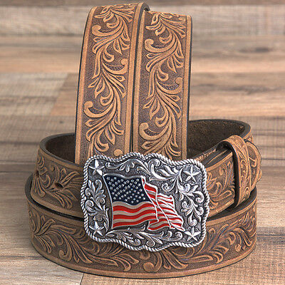 "28"" Justin Ladies Floral Tooled Leather Ladies Belt American Pride Buckle Brown"