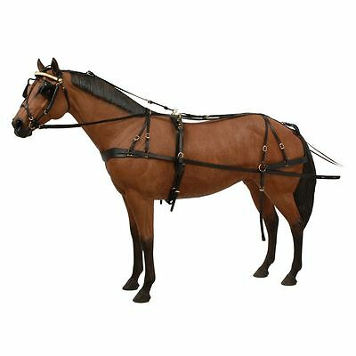 Tough 1 Horse Tack Premium Leather Tooled Box Bridle Driving Harness