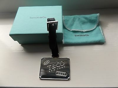 Tiffany & Co Silver 925 Luggage ID Tag with Black Leather Strap