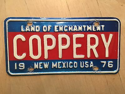 "Rare 1976 New Mexico Bicentennial Vanity License Plate "" Coppery "" Copper"