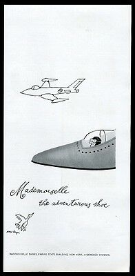 1961 Tomi Ungerer fighter plane art Mademoiselle women's shoes vintage print ad