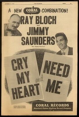 1952 Ray Bloch & Jimmy Saunders photo Coral Records   trade print ad