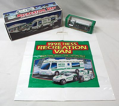 1998 Hess Recreation Van + Bag + Mini Tanker Truck - New