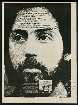 1974 Billy Joel photo Streetlife Serenade album release vintage print ad