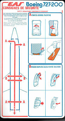 1 x EAS B727-200 SAFETY CARD