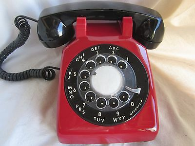 Red and Black Model 500 Rotary Dial Telephone