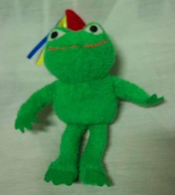 """Princess Soft Toys CUTE GREEN FROG W/ PARTY HAT 5"""" Plush STUFFED ANIMAL Toy"""