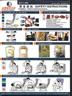 1 x SHANDONG AIRLINES B737-800 SAFETY CARD *2013-05-10*