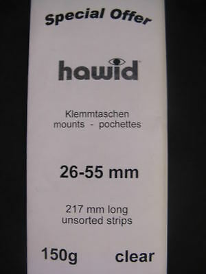 150g MIXED STARTER HAWID STAMP MOUNT STRIPS - CLEAR - VARIOUS SIZES 26mm to 55mm
